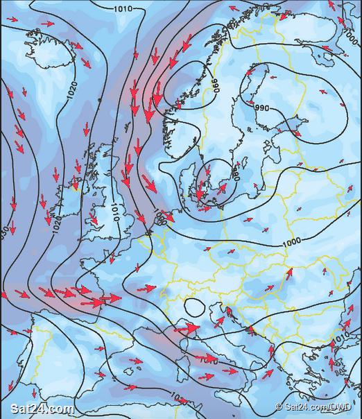 Prévisions des vents pour samedi 21 novembre